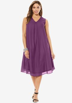 A-Line V-Neck Dress,