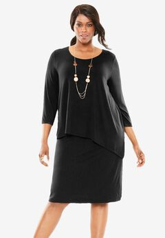 Relaxed Three-Quarter Sleeve Popover Dress,