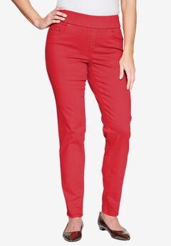 Comfort Waistband Jeans, HOT RED