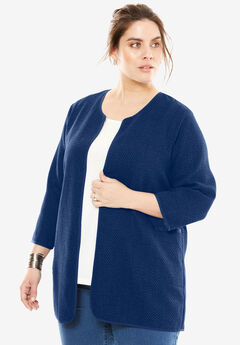 Collarless Textured Topper, EVENING BLUE