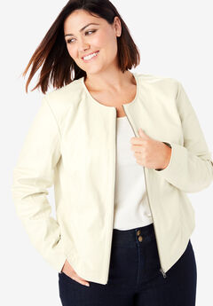 Collarless Leather Jacket, IVORY