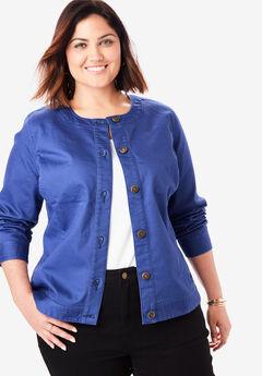 Collarless Denim Jacket, ULTRA BLUE