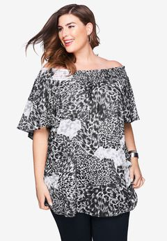 Off the Shoulder Tunic, BLACK MIXED ANIMAL