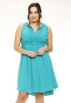 Crinkle Gauze Fit & Flare Dress,