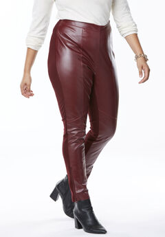 Ankle Zip Leather and Ponté Jeggings,