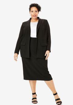 Single-Breasted Skirt Suit, BLACK