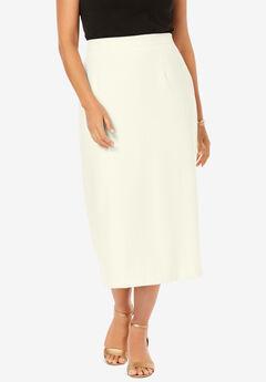 Wool-Blend Midi Skirt, IVORY