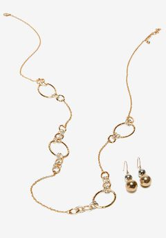 Oval Link Necklace & Earring Set,