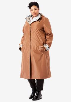 Contrast Hood Raincoat, NUTMEG ZEBRA