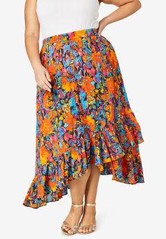Handkerchief Hem Skirt, NAVY BLOSSOM FLORAL