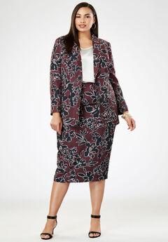 Single-Breasted Skirt Suit, DEEP MERLOT OUTLINED FLORAL