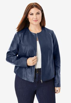 Collarless Leather Jacket, NAVY