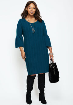 Bell-Sleeve Cable Sweaterdress, TWILIGHT TEAL