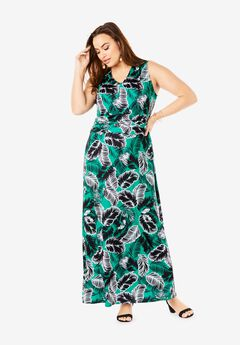 V-Neck Maxi Dress, GREEN PALM PRINT