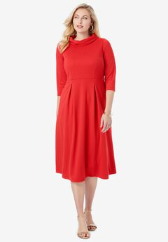 Stand Collar Dress, VIVID RED