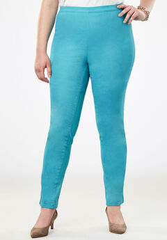 Straight Leg Stretch Denim Jeggings, DUSTY AQUA