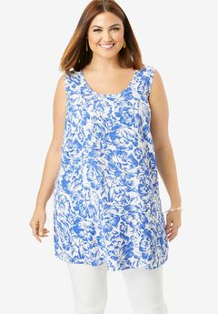 Georgette Tunic Tank, WHITE ETCHED FLORAL