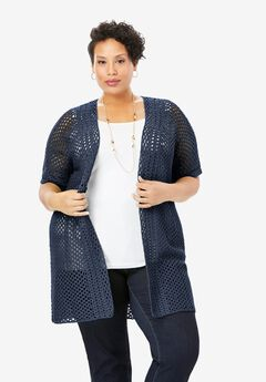 Crochet Duster Sweater, NAVY