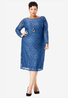 Lace Shift Dress, TWILIGHT BLUE