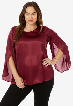 Flutter Sleeve Satin Top,