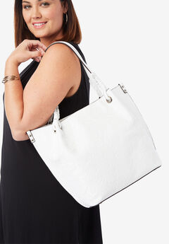 Embossed Tote, WHITE