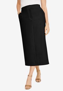 Tummy Control Bi-Stretch Midi Skirt, BLACK