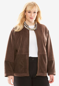 A-Line Faux Suede Jacket, CHOCOLATE