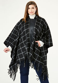 Leather Trim Poncho,