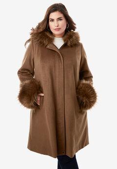 Hooded Faux Fur Trim Coat,
