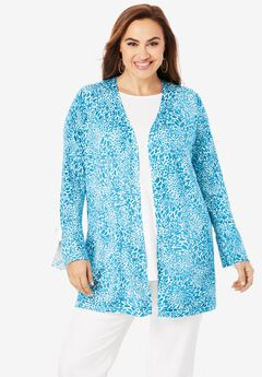 Bell Sleeve Cardigan Sweater, TURQUOISE ANIMAL