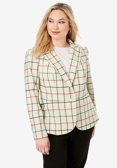 Wool-Blend Peplum Blazer, IVORY SIMPLE PLAID