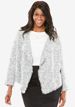 Open Front Draped Tweed Jacket, IVORY BLACK