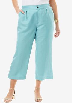 Linen Wide Leg Capri,