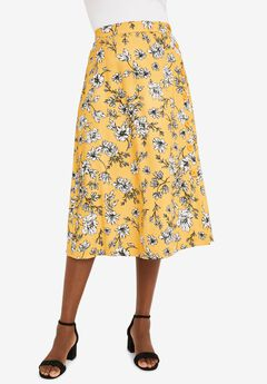 Side-Button Midi Skirt, SUNSET YELLOW SKETCH FLORAL