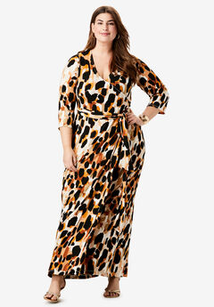 Faux Wrap Maxi Dress, RICH GOLD ABSTRACT CHEETAH