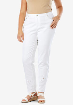 Embroidered Jeans, WHITE