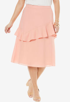 Ruffle Midi Skirt, SOFT PEACH