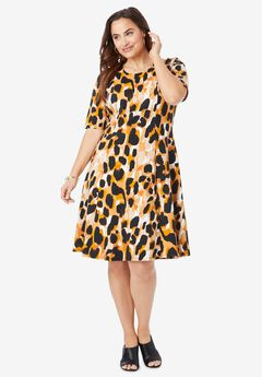 Ponte Flare Dress, RICH GOLD ABSTRACT CHEETAH