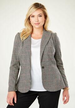 Wool-Blend Peplum Blazer, MULTI HOUNDSTOOTH PLAID