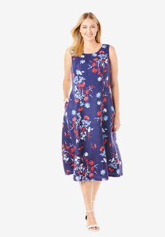 Linen Fit & Flare Dress, NAVY SOFT BOUQUET