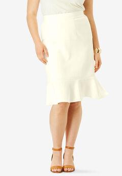 Flounced Bi-Stretch Skirt,