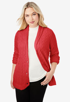 Cable Blazer Sweater, PEPPER RED