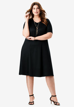 Ponte Flare Dress, BLACK