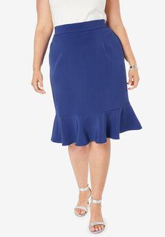 Flounced Bi-Stretch Skirt, ULTRA BLUE