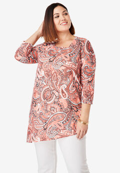Asymmetrical Linen Tunic, CORAL BLUSH OUTLINE PAISLEY