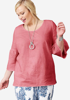 Bell Sleeve Linen Blouse,