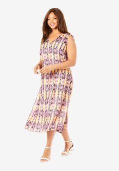 Floral A-Line Dress, PINK TRIBAL IKAT