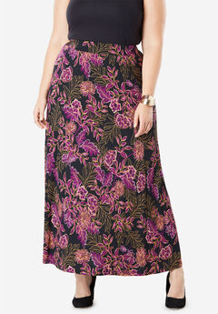 Everyday Knit Maxi Skirt, TRUE GRAPE TRACED FLORAL