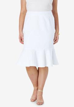 Refined Denim Flounce Skirt, WHITE