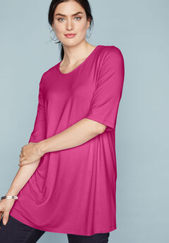 A-Line Tunic with Scoop Neckline, BRIGHT BERRY
